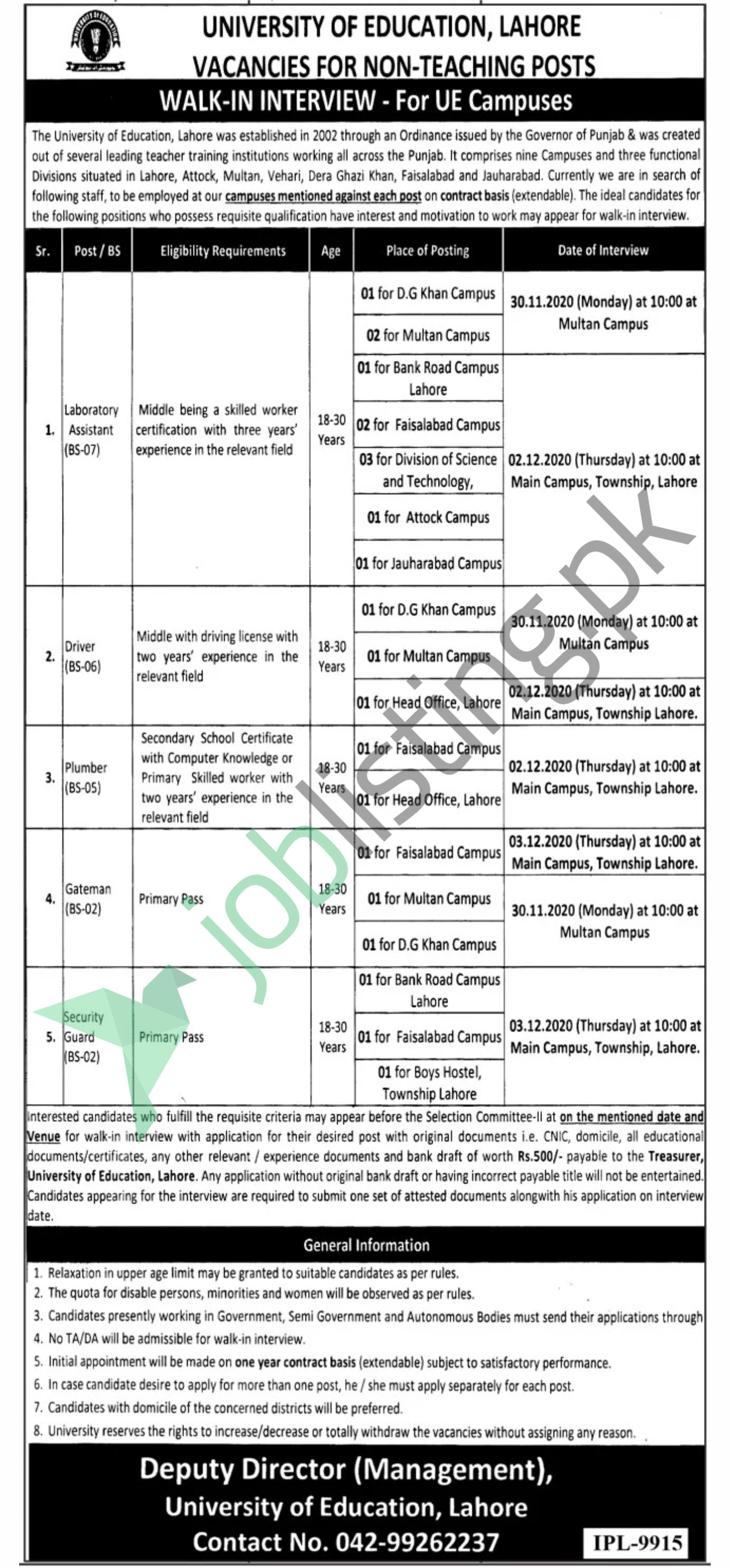 Walk in Interview University of Education Lahore