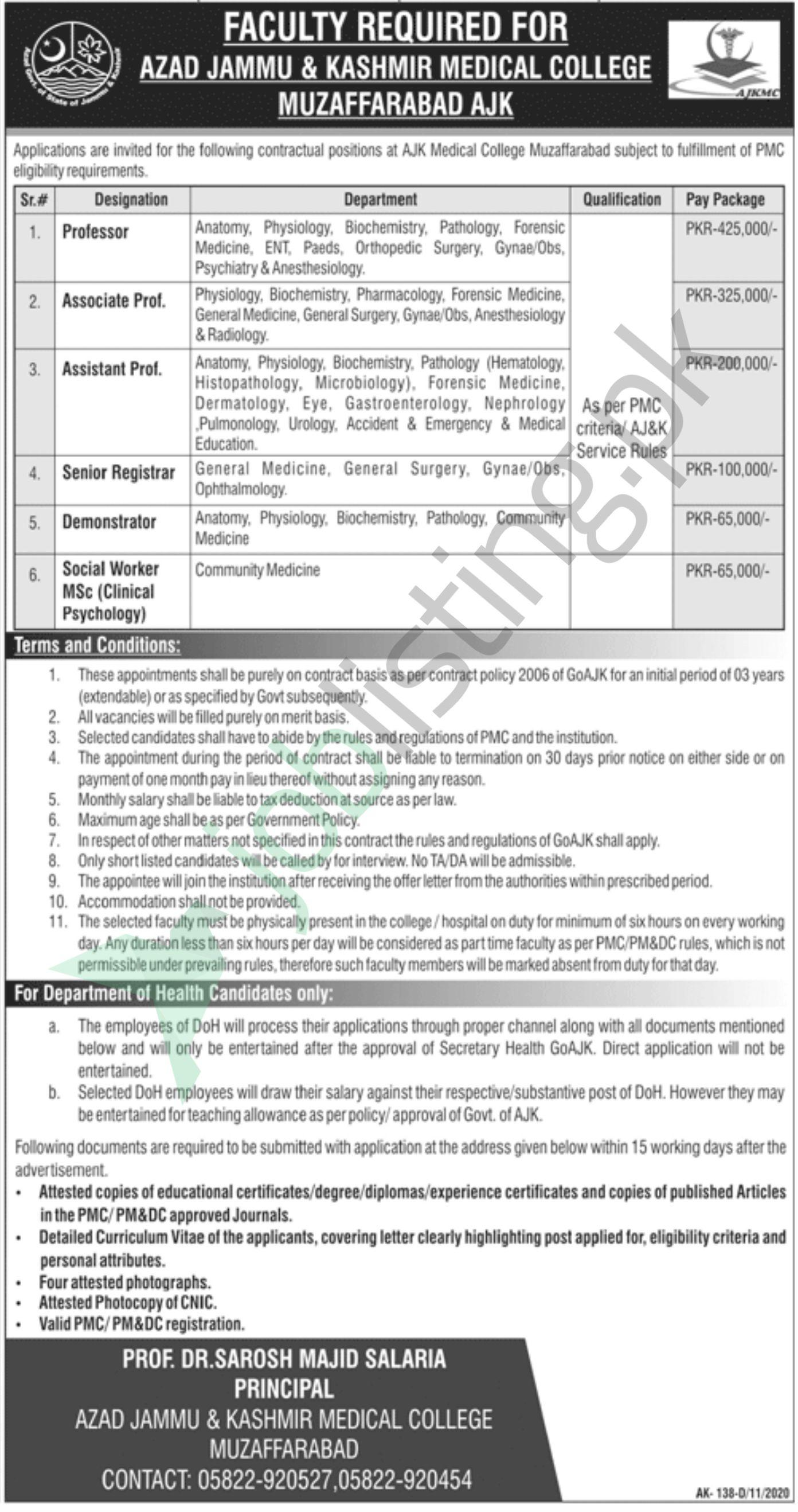 Latest Jobs in Azad Jamu and Kashmir Medical College November 2020