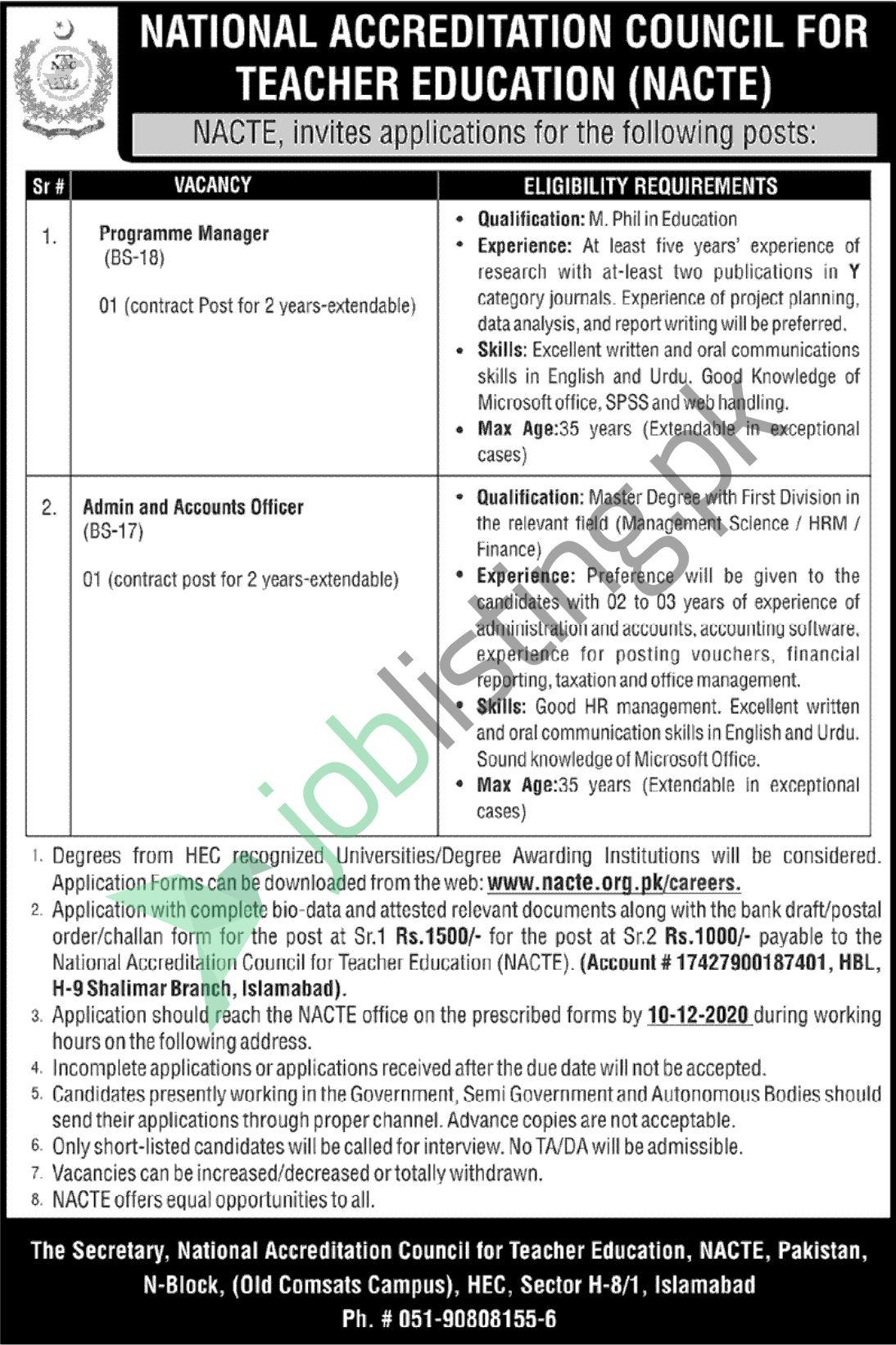 NACTE Islamabad Jobs November 2020