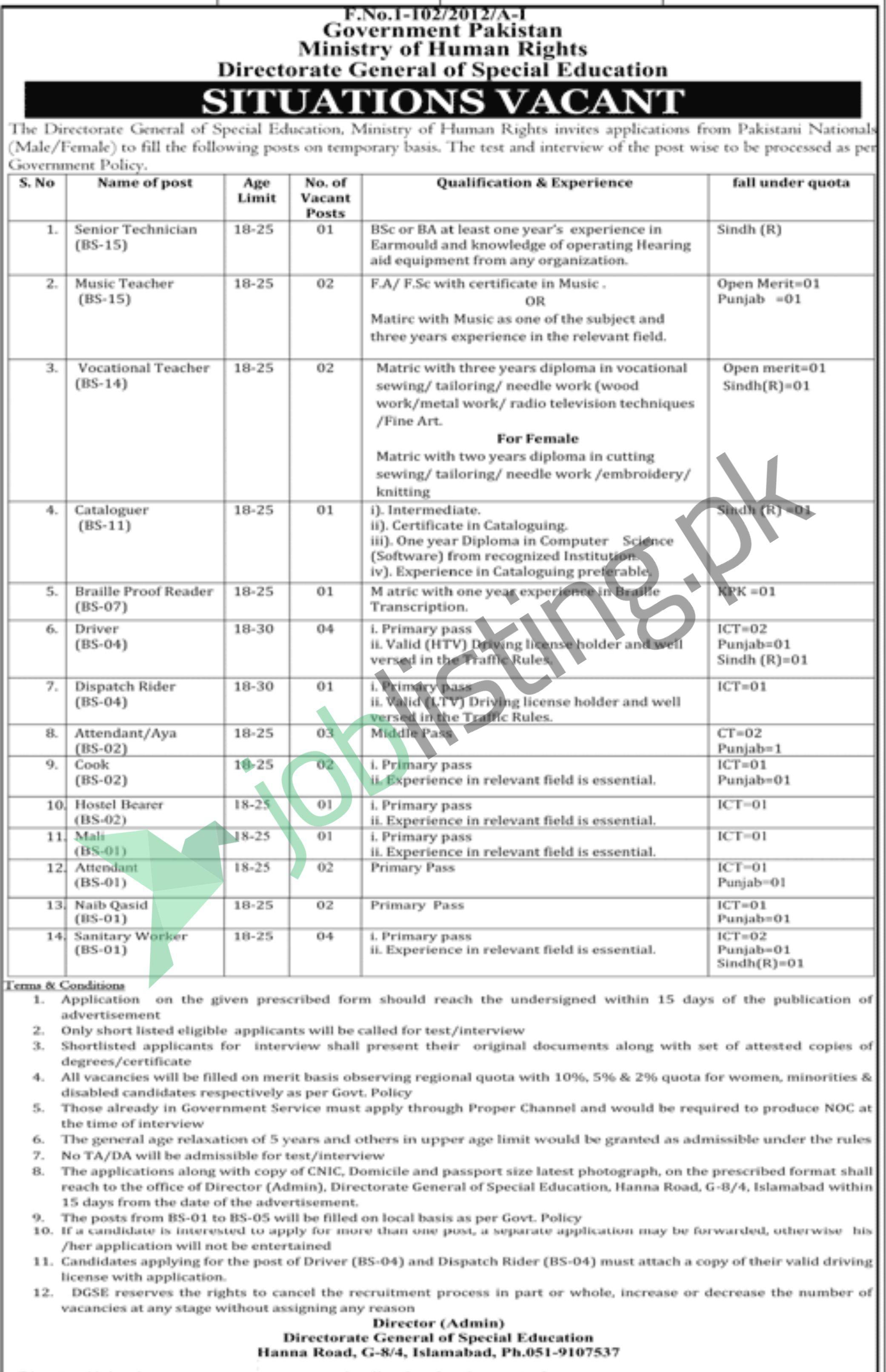 Latest Jobs in Directorate General of Special Education 2020