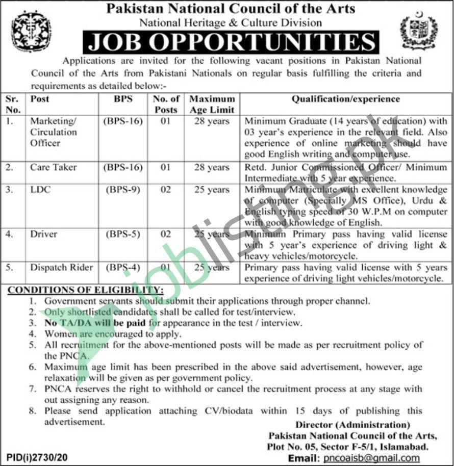 PNCA Jobs 2020 Pakistan National Council of the Arts December Advertisement