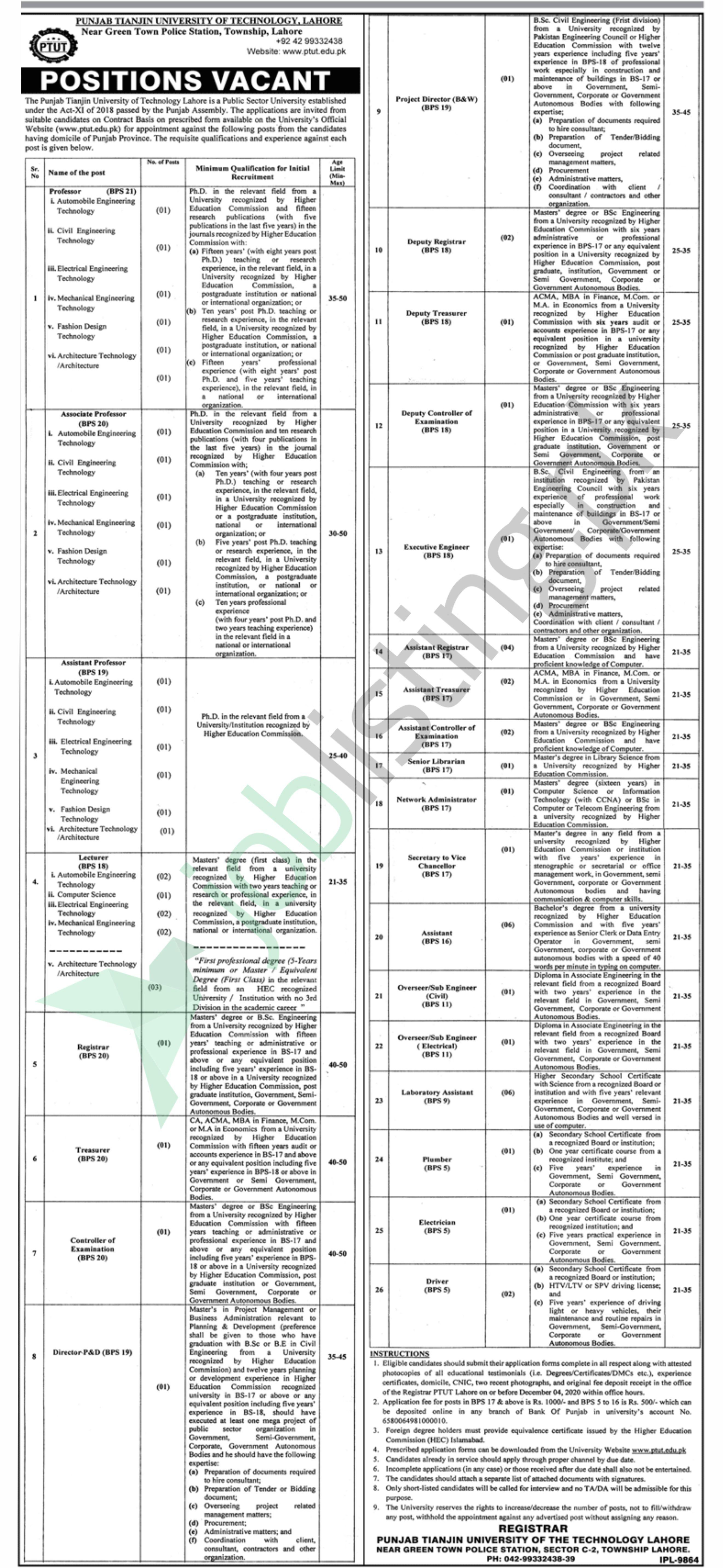 Latest Jobs in Punjab Tianjin University of Technology, Lahore 2020