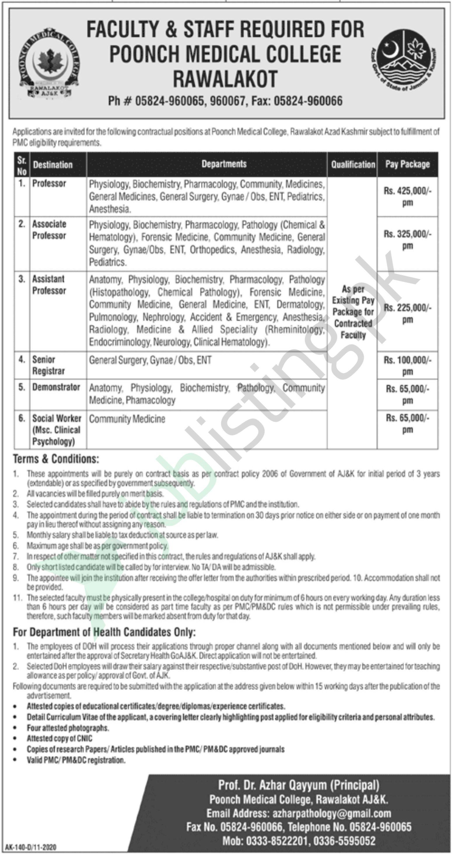 Latest Jobs Faculty Poonch Medical College Rawalakot November 2020