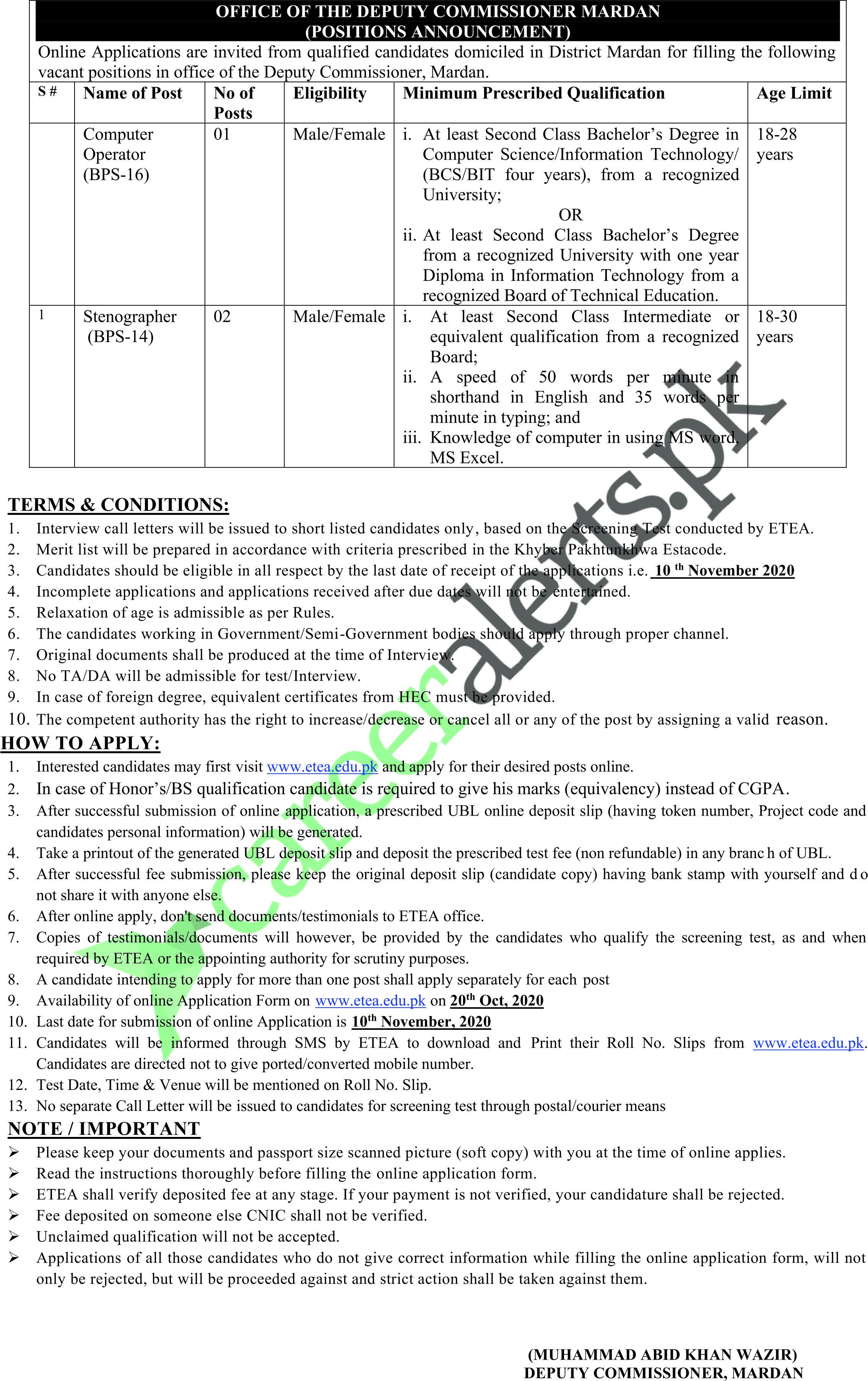 Latest Jobs Deputy Commissioner Mardan November 2020