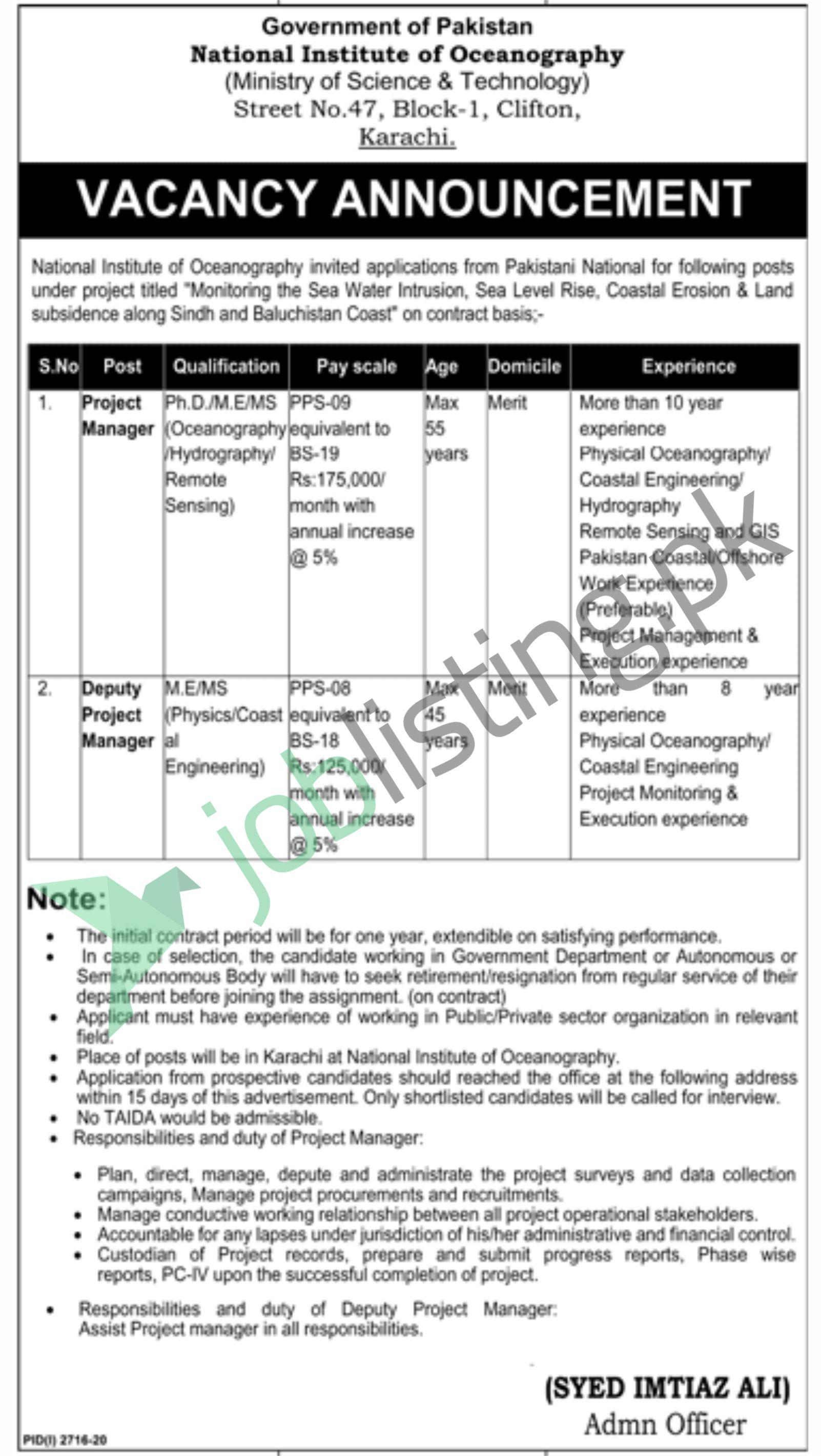 National Institute of oceanography Jobs Nov 2020 Latest for Project Manager