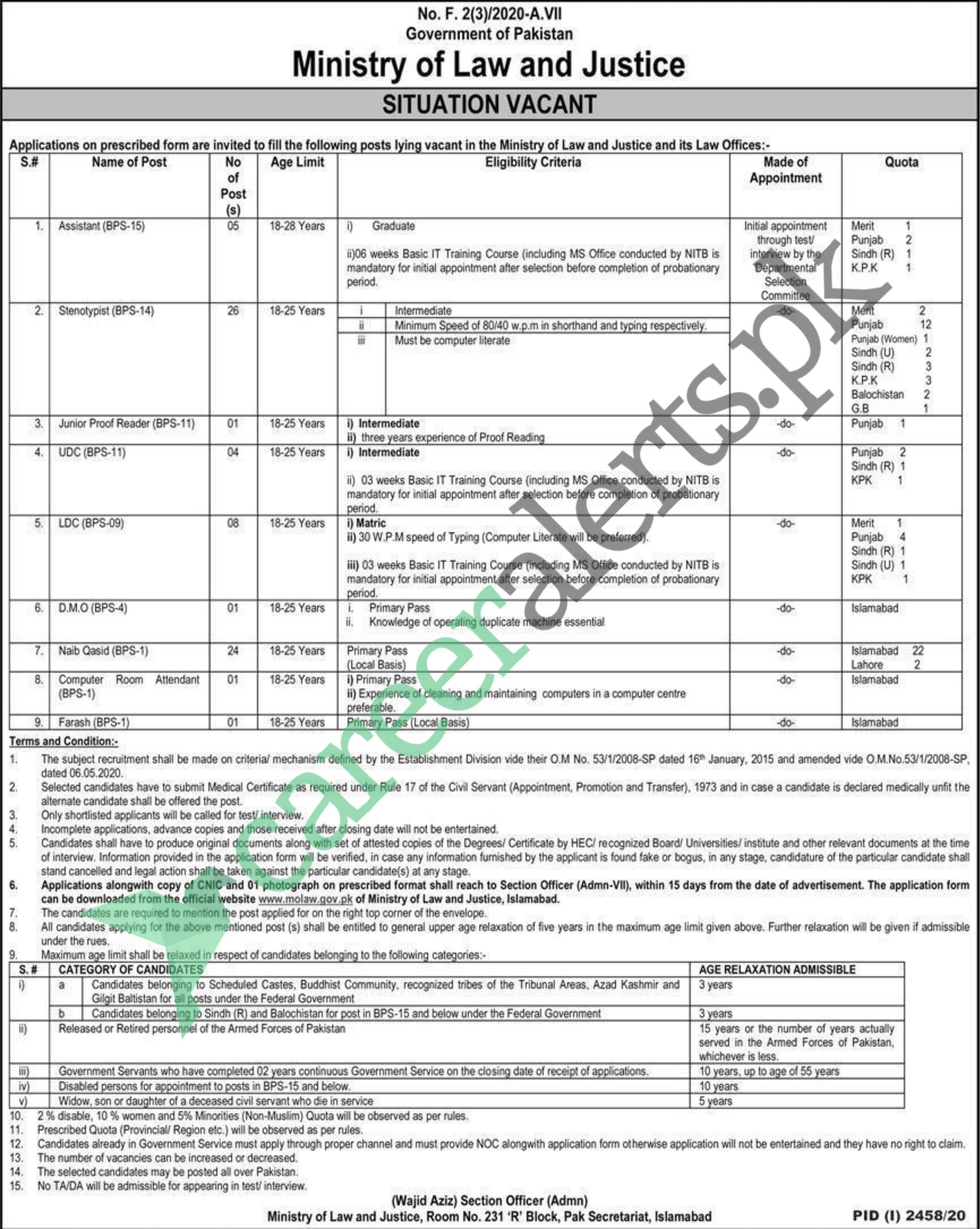 Ministry of Law and Justice November Jobs 2020