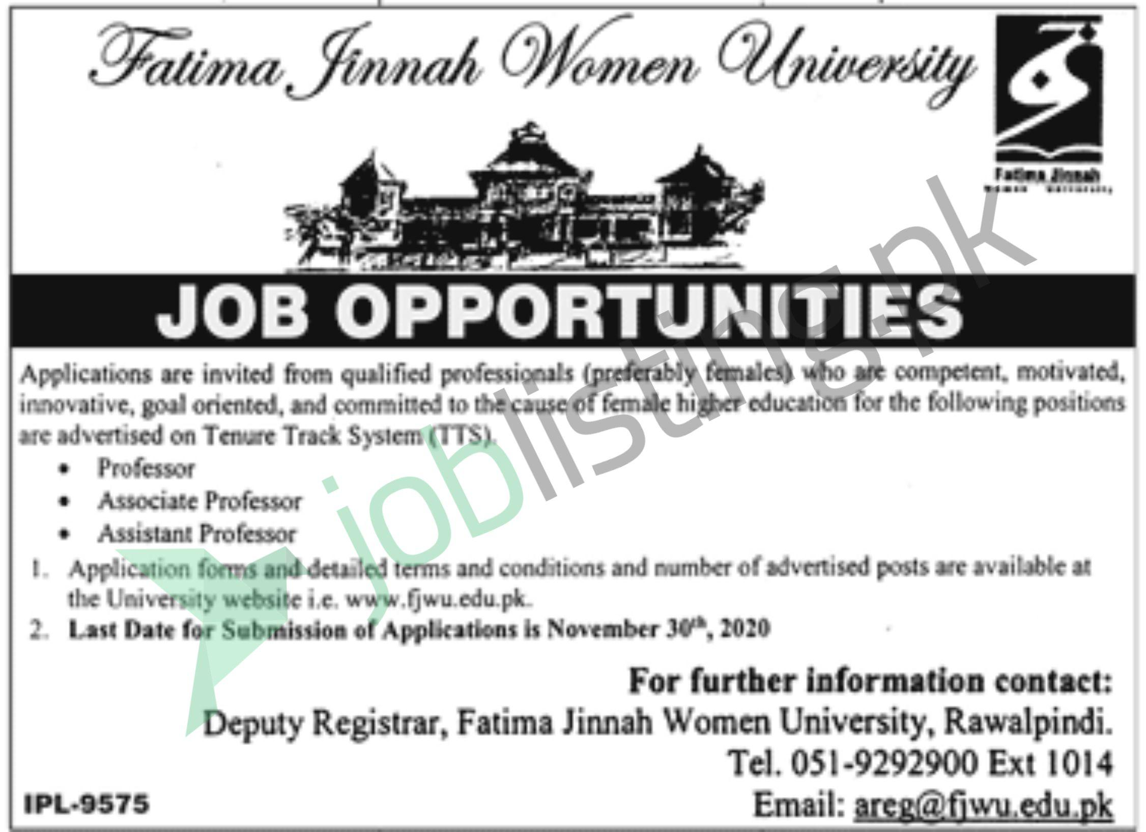 Teaching Jobs Fatima Jinnah Women University November 2020