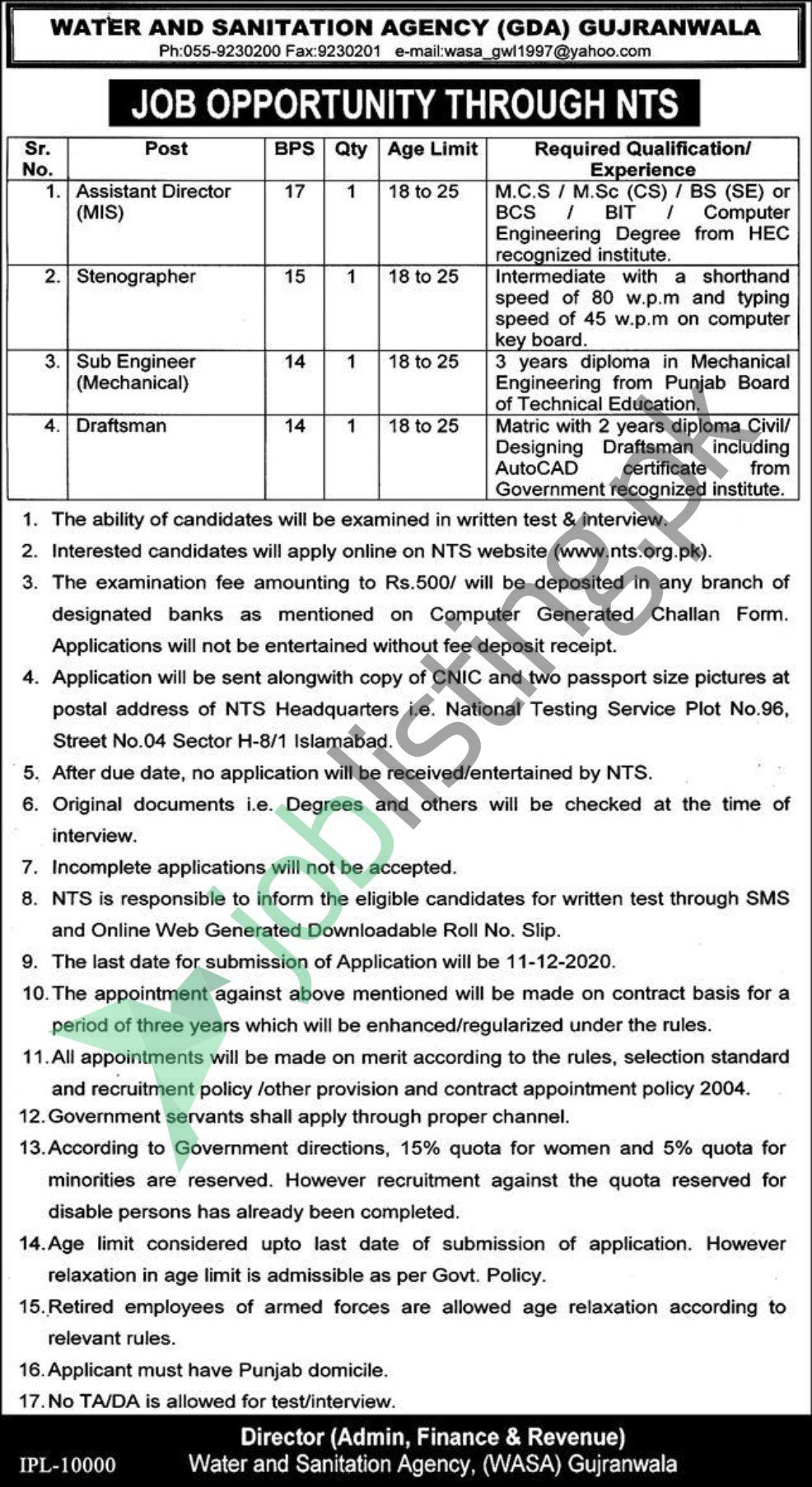 NTS jobs Nov 2020 Water & Sanitation Agency (GDA) Gujranwala