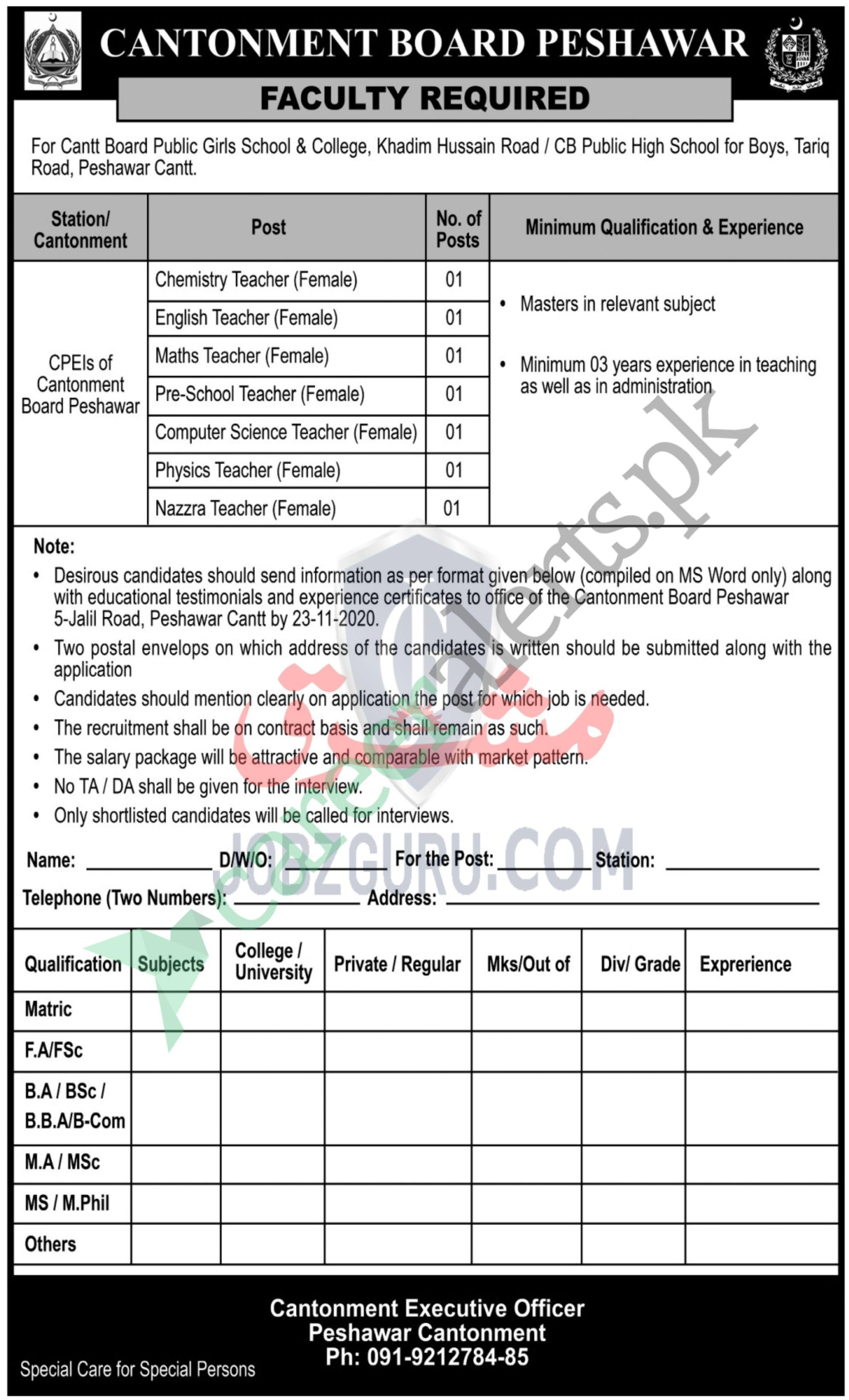 Job Opportunities at Cantonment Board Peshawar Jobs November 2020