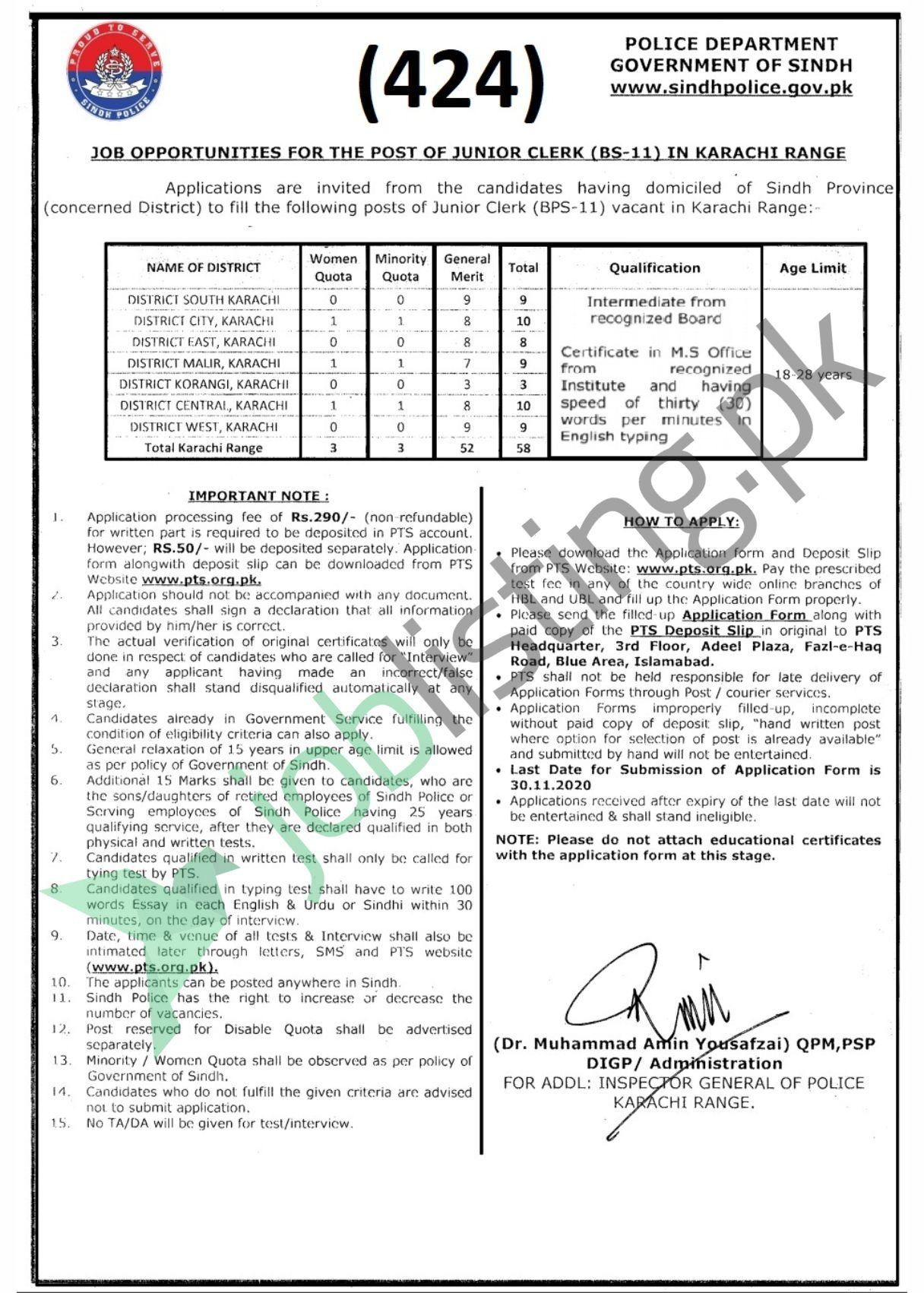 PST Application form Sindh Police Jobs 2020 for Junior Clerk