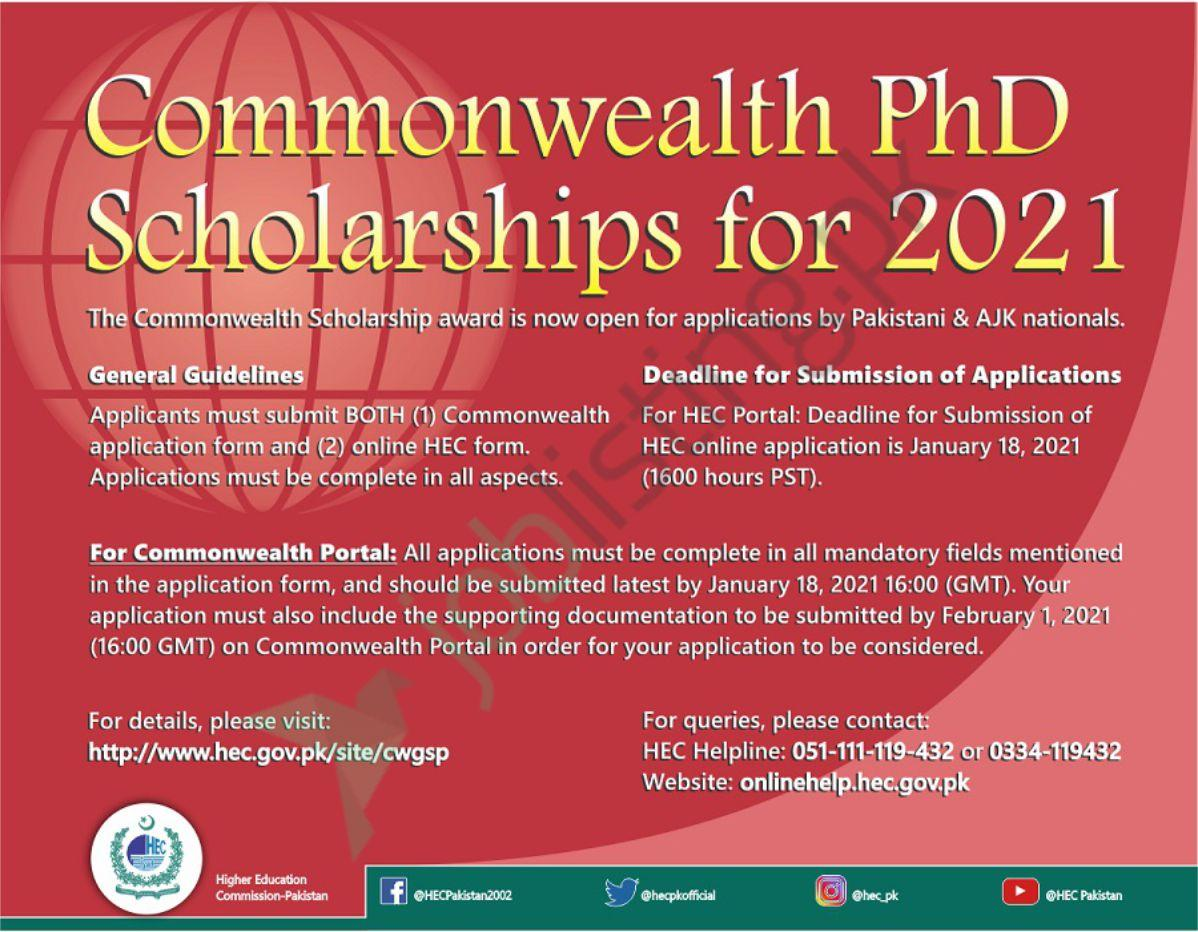 Student Scholarship in Pakistan | COMMONWEALTH SCHOLARSHIPS FOR PHD IN THE UNITED KINGDOM