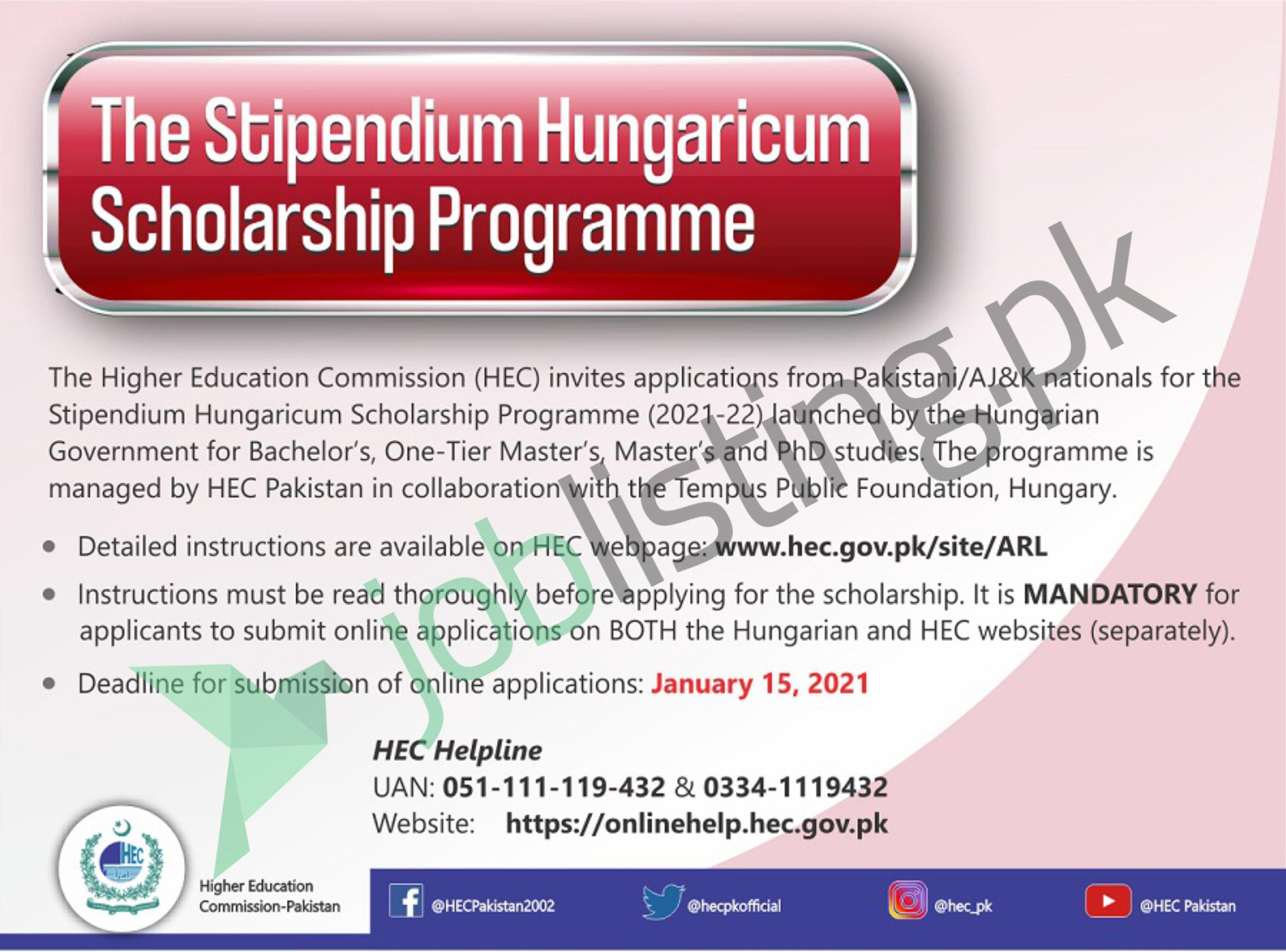 Stipendium Hungaricum Scholarship Program (2021-22) Fully Funded